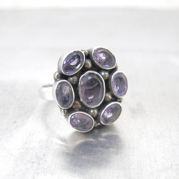 Sterling Silver Amethyst Ring. Retro Amethyst Cluster Flower Statement Ring. February Birthstone Ring.