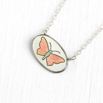 Vintage Butterfly Necklace - Art Deco Sterling Silver Enamel Guilloche Stick Pin Conversion Pendant - 1920s White Pink Small Charm Jewelry