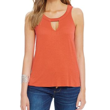 Love On A Hanger Keyhole-Neck High-Low Tunic Tank | Dillards