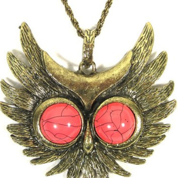 Flying Owl Necklace Gold Tone Bird Red Eyes NF22 Vintage Retro Pendant Fashion Jewelry