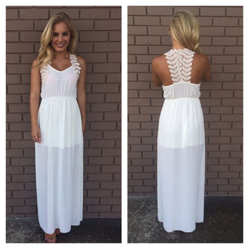 Greek Goddess Crochet Maxi Dress - IVORY