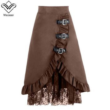 Wechery Women Skirts Sexy Long Maxi Steampunk Elastic Skirts Pencil Vintage Skirt Black Midi Gothic Corset  A-line Lace Skirt