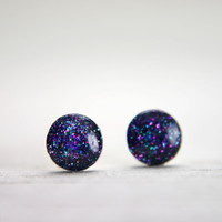 super tiny circle post earrings in sparkly purple galaxy