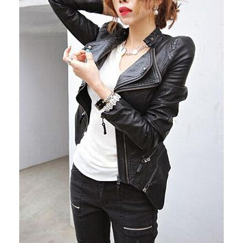 Women's Spliced Snake Doulbe Lapel & Shrug Shoulder Pads Faux Leather Biker Jacket Zipper Exposed Asymmetric Coat