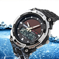 Solar Power LED Digital Electronics Watches Men Sport Watch Waterproof