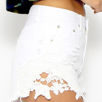 Toby Heart Ginger - Cheeky Crochet Cut Offs - White