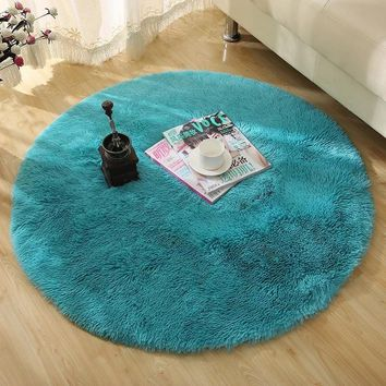 Solid Color Faux Fur White Plush Fluffy Round Carpet For Living Room Bedroom Large Modern Round Rug Home Decorative Mat Tapete