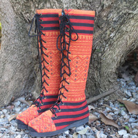 Sadie Tribal Womens Boots In Ethnic Naga Embroidery