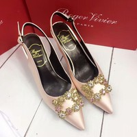 Roger Vivier 2018 summer new shining rhinestone pointed temperament high heels F-OMDP-GD gold