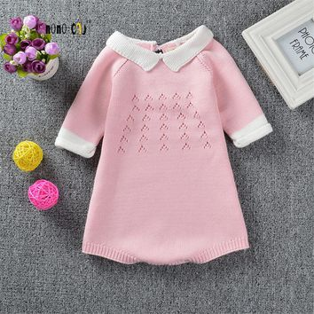 Fashion Children's Clothes Baby Girl Romper Spring Autumn Overall For Girl Sweet Knitted Cotton Baby Jumpsuits Kids Costumes