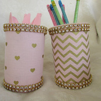 Pink and Gold Chevron and Heart Print with Gold Rhinestone Trim Pencil/Makeup brush/Silverware Holder