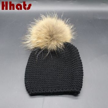 Which in shower real raccoon fur pompom children winter hat warm fur pom pom ball knitted hat for kids baby boy girl beanies
