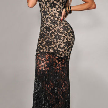 Black Sleeveless Floral Sheer Lace Floor Length Dress