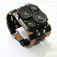 "Mens Watch Steampunk Wrist Watch Leather- Gifts for Men bracelet ""Safari""-SALE-Worldwide Shipping - Steampunk Watches"