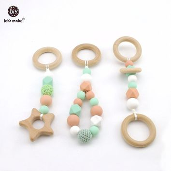Let's Make Baby Play Gym Accessorie 3pc Chew Silicone Beads DIY Teether Jewelry Nursing Pendants Baby Toys Rattle Wooden Teether