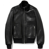 Gucci - Nappa Leather and Web Trimmed Bomber Jacket | MR PORTER