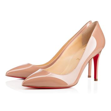 Sale Christian Louboutin Cl Pigalle Nude Patent Leather 85mm Stiletto Heel Classic