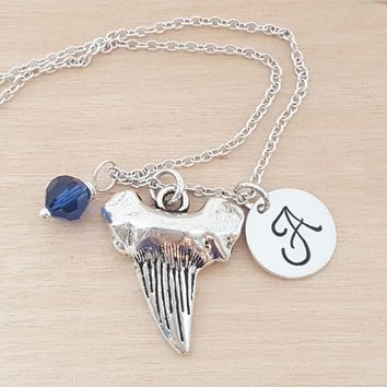 Shark Tooth Necklace - Shark Necklace -  Initial Necklace - Personalized Jewelry - Birthstone Necklace - Gift for Her - Shark / Sea Gift