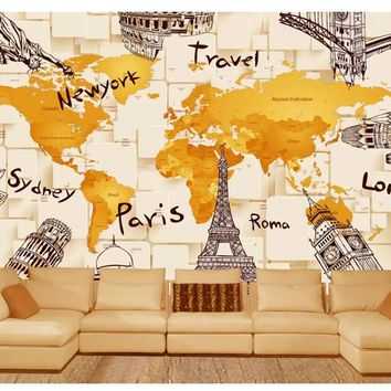 beibehang Custom creative simple wallpaper 3D architecture personality world map mural background wall wallpaper for walls 3 d