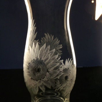 Sunflower engraved glass vase, clear , hand engraved , sunflower , floral home decor, gift ideas , mothers day