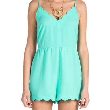 Lush Clothing - Scalloped Cut Out Back Romper - Mint