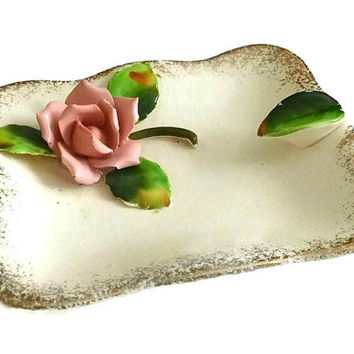 Vintage Shabby Chic Roses Ashtray 50's Porcelain Ashtray Vintage Japan Ceramic Ashtray Vanity Collectible Jewelry Holder