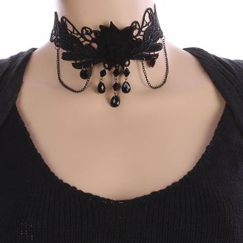 Fabric Flower Charm Crochet Lace Choker Necklace