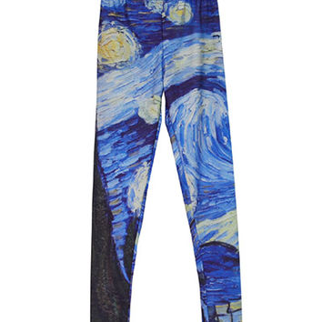 Starry Night Print Leggings