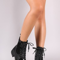 Snake Embossed Panel Lace Up Combat Lug Sole Platform Ankle Boot