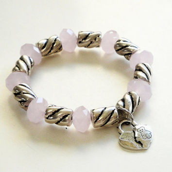 BLACK FRIDAY Pink Faceted Crystal Silver Elastic Bracelet/ Heart Charm Silver Beaded Bracelet/Christmas Gift Under 20