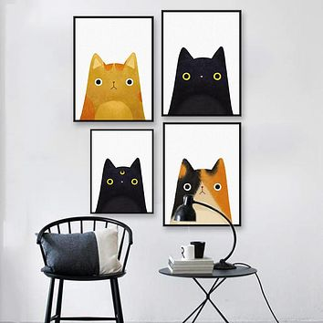 Original Watercolor Cute Japanese Cat Pet Poster Print Animal Picture Hipster Kids Room Wall Art Canvas Painting Gifts No Frame
