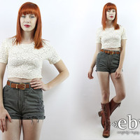 Vintage 90s Sheer Lace Crop Top S M Cropped Top Midriff Top Cropped Shirt Cropped Blouse Summer Top Festival Crop Top Hippie Crop Top