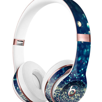 Navy and Gold Unfocused Sparkles of Light Full-Body Skin Kit for the Beats by Dre Solo 3 Wireless Headphones