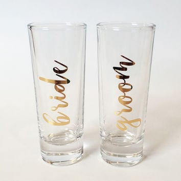 Bride and Groom Shot Glasses