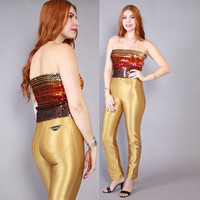 Vintage 70s DISCO PANTS / 1970s Shiny GOLD Spandex Wet Look Le Gambi Skinny Pants, xs