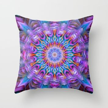 Abstract purple luxury Mandala Throw Pillow by Jeanette Rietz