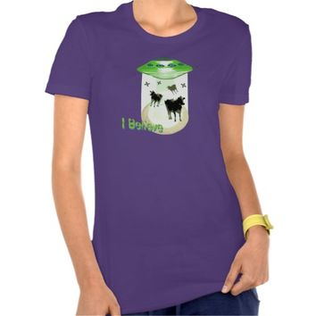 Funny I Believe U.F.O. Aliens Abducting Cows Tee Shirt