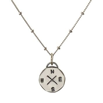 Travel jewelry Sterling silver Compass rose pendant necklace