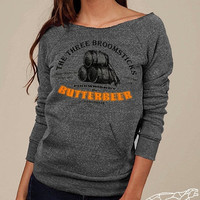 Harry Potter Butterbeer Off-The-Shoulder Sweater Soft Sexy Eco-Fleece Alternative Apparel Steel Grey SALE 10% OFF