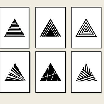 Set 6 Prints Minimalist Geometric triangle Decor, Art Print Geometric Minimalist Geometric, Poster Art *6*