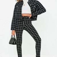 Missguided - Black Denim Vice Grid Print Skinny Jeans