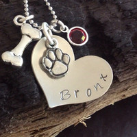 Personalized Pet Necklace, Pet Jewelry, Dog necklace, dog jewelry, Dog, Pet, Heart shaped, memorial