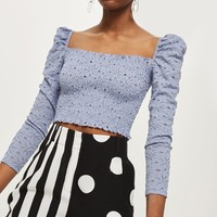 Daisy Lace Shirred Top | Topshop