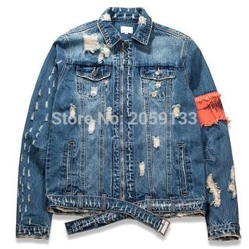 2018 men jacket hip hip justin bieber streetwear kanye west cotton oversized pockets denim jacket clothes M-XXL