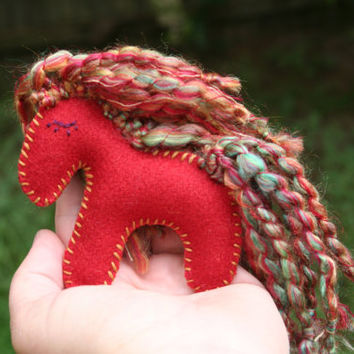 Little Red Wool Pocket Pony, Lavender Flowers in Belly, Rainbow Mane & Tail, Hand Stitched, Eco Friendly, Waldorf, Little Horse