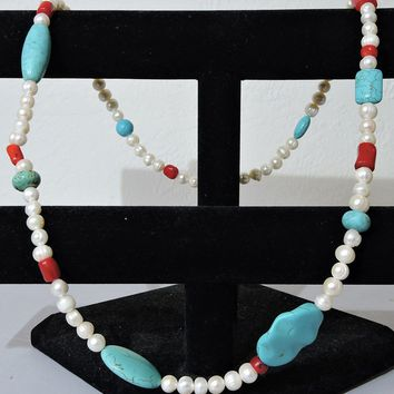 Blue Turquoise Red Coral Fresh Water Pearl Natural Long Necklace