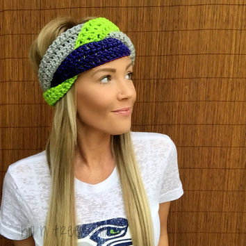 Seattle Seahawks Navy Blue, Lime Green, Grey Hawks Braid Head Hair Accessory Band Earwarmer Gray Headband Fashion Girl Woman Unisex Boy Men