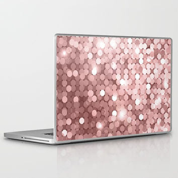 Rose gold glitter Laptop & iPad Skin by printapix