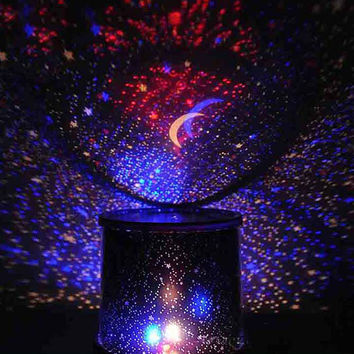 Color Random LED Star Master Bedroom Novelty Night Light Projector Lamp Rotary Starry Star Moon Sky Star Projector Kids Gift