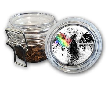 Airtight Stash Jar with Silicone Seal - Eagle With Rainbow Prism - Food-Grade Plastic with Locking Wire Top - Smell Proof Hermes Container